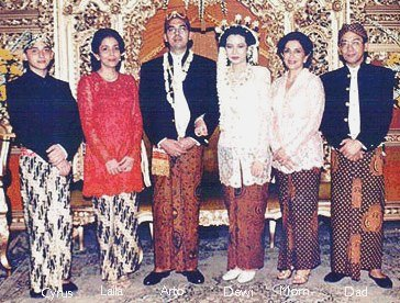 Arto's Java Wedding, Cyrus, Laila, Arto, Dewi, Mom and Dad, Jakarta, August 12th., 1995